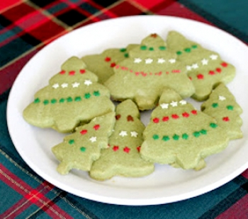 matcha shortbread christmas cookies recipe